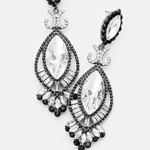 Marquise Crystal Rhinestone Double Oval Earrings
